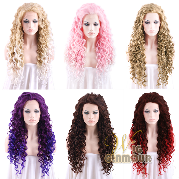 26-Long-Spiral-Curly-Blonde-Pink-Red-Green-Lace-Front-Synthetic-Wig