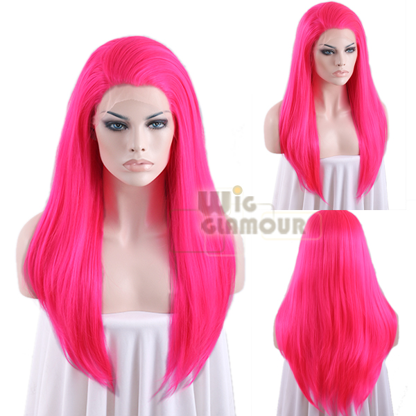 Black Hot Pink Wigs 68