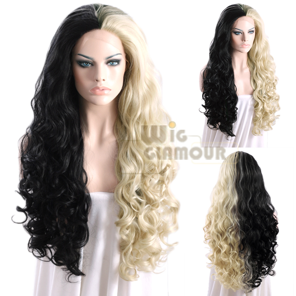 Long-Curly-Wavy-18-28-Blonde-Black-Purple-Blue-Magenta-Lace-Front-Wig